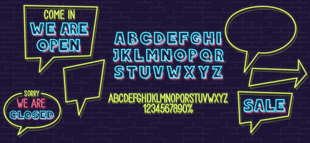 Neon speech bubble and fonts set isolated on brick wall background. For logo, poster, banner. Headline and small condensed uppercase letters