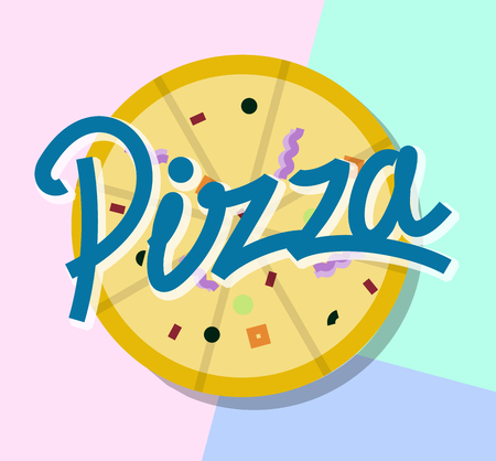 Pizza sign or logo template. Modern memphis geometric isolated on white background line art style illustration