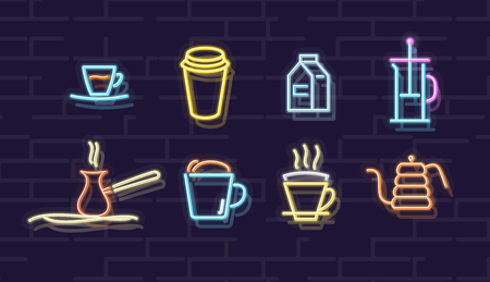 Neon coffee icon set. Geyser coffee maker, japan dripper, turkish pot on hot sand, french press. Isolated line art style illustration on white background 向量圖像