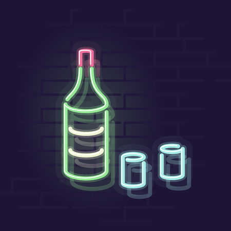 Neon soju bottle. Korean rice vodka for poster or social image. Night illuminated wall street sign. Isolated geometric style illustration on brick wall background