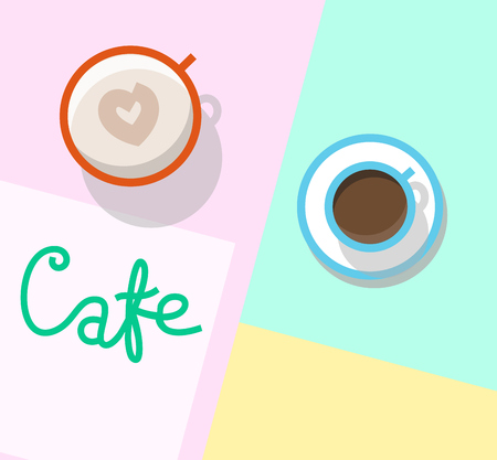 Cafeteria table top view. Typography with espresso and cappuccino in cups. Isolated line art illustration