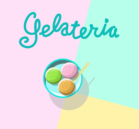Ice-cream gelateria top view. Typography with 3 balls of italian gelato. Isolated on white background line art illustration