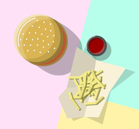 Burger and fries with tomato sauce top view. Isolated line art illustration on light background