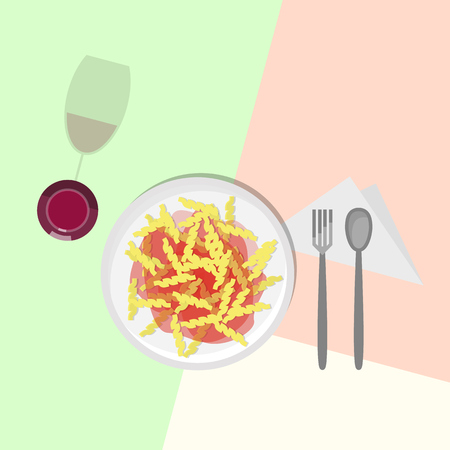 Fusilli italian pasta in tomato sauce, red wine in wineglass. Top view icons on pastel colors background. Illustration for poster, banner, t-shirt