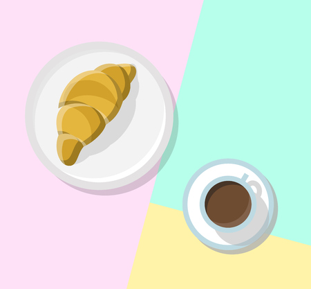 Croissant and coffee in cafe-bakery. Top view icons on pastel colors background. Line art illustration for poster, banner, t-shirt