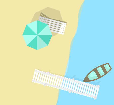 Summer beach with beach umbrella and boat. Top view icons on pastel colors background. Line art illustration for poster, banner, t-shirt