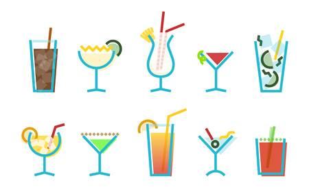 Memphis style cocktails icons set. Ten popular alcoholic cocktails in flat geometric style on white background