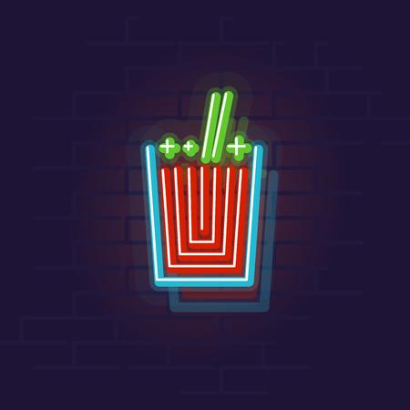 Neon bloody mary icon. Night illuminated wall street sign. Isolated geometric style illustration on brick wall background