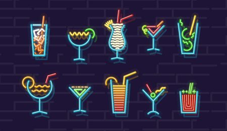 Neon cocktails icons set. Ten popular alcoholic isolated geometric cocktails on brick wall background