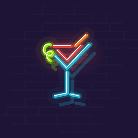 Neon cosmopolitan icon. Night illuminated wall street sign. Isolated geometric style illustration on brick wall background