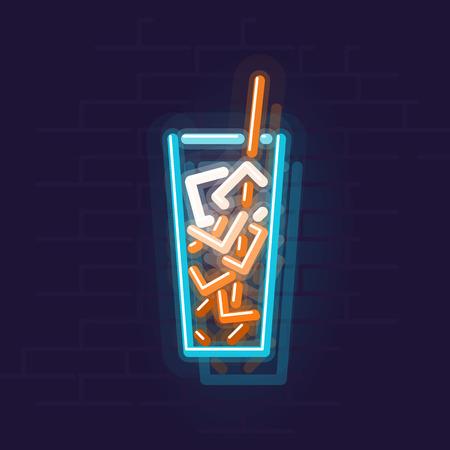 Neon cuba libre icon. Night illuminated wall street sign. Isolated geometric style illustration on brick wall background
