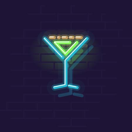 Neon grasshopper icon. Night illuminated wall street sign. Isolated geometric style illustration on brick wall background 向量圖像