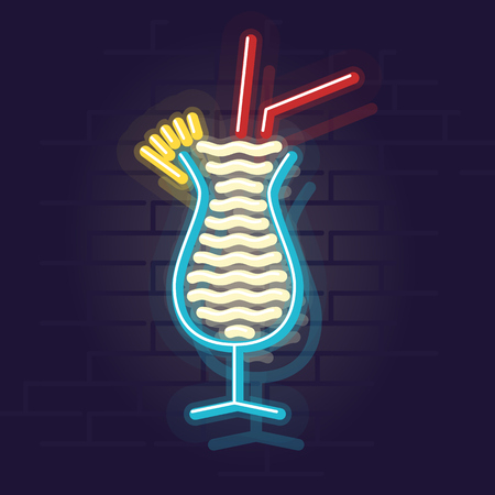 Neonowa ikona pina colady. Noc oświetlony znak wall street. Ilustracja na białym tle geometryczny styl na tle ściany z cegły Ilustracje wektorowe