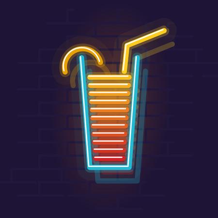Neon tequila sunrise icon. Night illuminated wall street sign. Isolated geometric style illustration on brick wall background 向量圖像