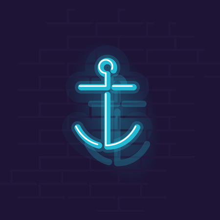 Neon anchor icon. Night illuminated wall street sign. Isolated geometric style illustration on brick wall background