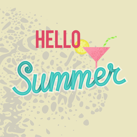 Hello summer mini poster. Typographic and handwritten text. Square illustration on sand background