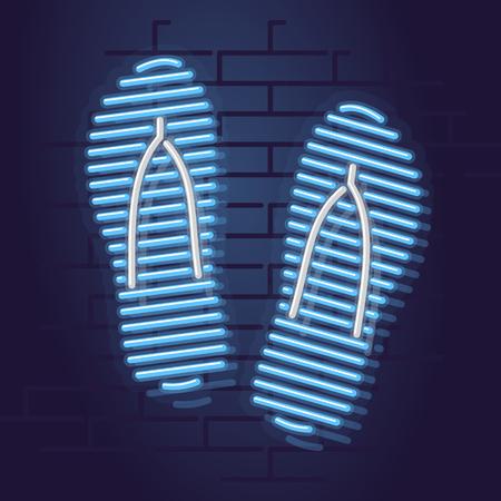Neon flip flops icon. Night illuminated wall street sign. Isolated geometric style illustration on brick wall background