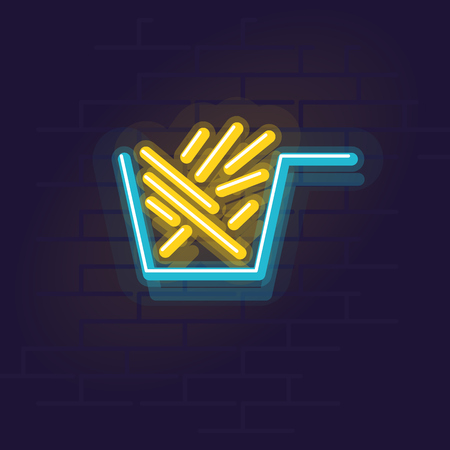 Neon fries. Night illuminated wall street sign. Isolated geometric style illustration on brick wall background