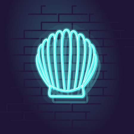 Neon seashell icon. Night illuminated wall street sign. Isolated geometric style illustration on brick wall background