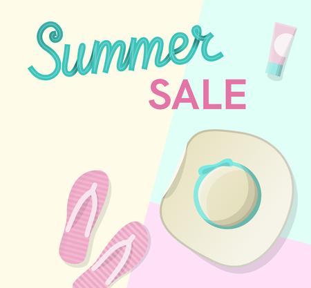 Summer sale handwritten lettering with sun hat, sunglasses, flip flips on the beach. Top view geometric style illustration 向量圖像