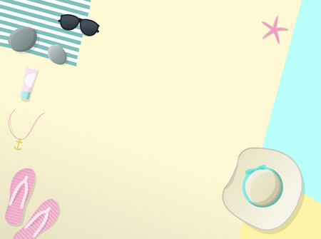 Summer template for text with sun hat, sunglasses, flip flips on the beach. Top view geometric style illustration