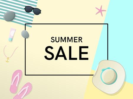 Cartel de venta de verano con sombrero para el sol, gafas de sol, estrella de mar, flip flips en la playa. Ilustración de estilo geométrico de vista superior