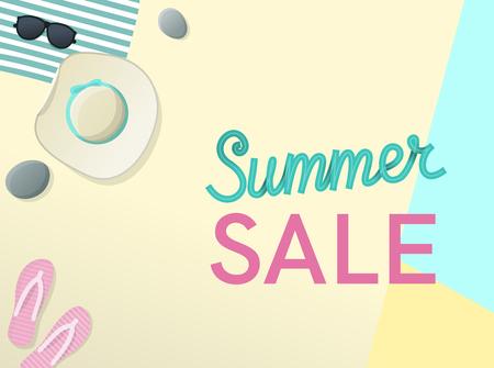 Venta de verano letras escritas a mano con sombrero para el sol, gafas de sol, flip flips en la playa. Ilustración de estilo geométrico de vista superior Ilustración de vector