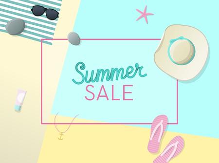 Venta de verano letras escritas a mano con sombrero para el sol, gafas de sol, estrella de mar, flip flips en la playa. Ilustración de estilo geométrico de vista superior