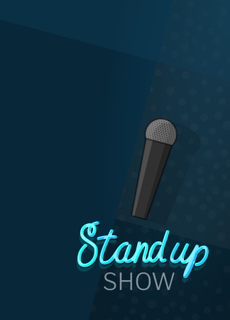 Stand up show poster template. Line art style illustration for open microphone standup comedy