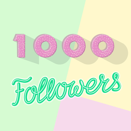 1000 followers anniversary banner. Top view text on pastel colors background. Illustration for public, channel, blog 向量圖像