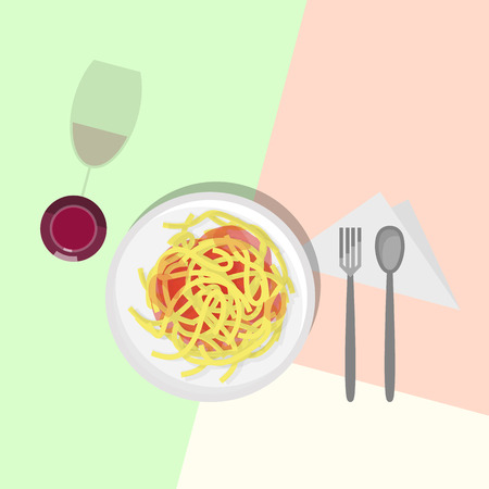 Spaghetti italian pasta in tomato sauce, red wine in wineglass. Top view icons on pastel colors background. Illustration for poster, banner, t-shirt