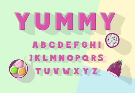Yummy vector font set isolated with dragon fruit and gelato icons. 向量圖像