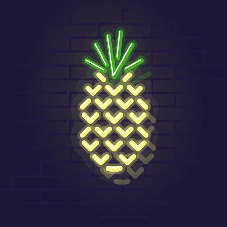 Neon pineapple. Night illuminated wall street sign. Isolated geometric style illustration on brick wall background 向量圖像