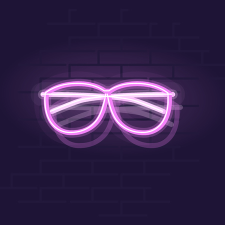 Neon glasses. Night illuminated wall street sign. Isolated geometric style illustration on brick wall background 向量圖像