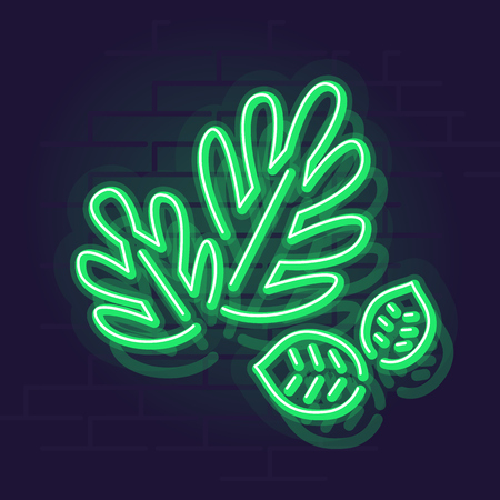 Neon leaves. Night illuminated wall street sign. Isolated line art illustration on brick wall background