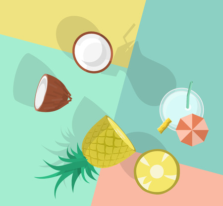 Pina colada top view. Image with cocktail and its ingredients on colorful background. Illustration for menu, poster, banner, t-shirt