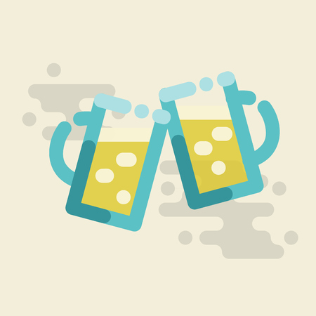 Cheers beer. Two pints of beer hits in cheers celebration. Isolated line art square illustration