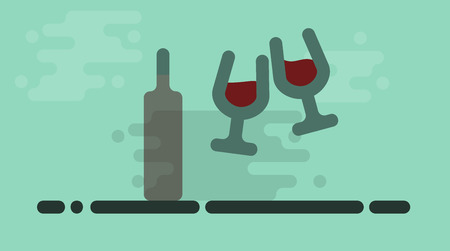 Cheers wine. Two wine glasses hits in cheers celebration. Isolated line art square illustration 向量圖像