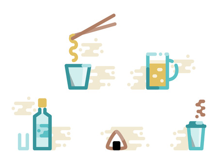 Konbini store food and drink set. Instant noodles, beer, liquor, onigiri, coffee. Isolated line art style illustration on white background 向量圖像
