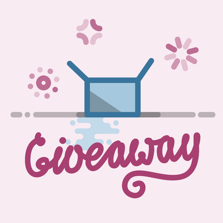 Giveaway illustration with handwritten lettering for social network post, banner, announcement Vectores