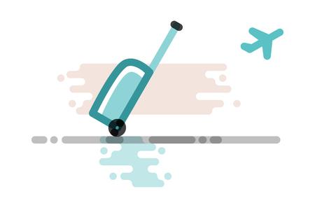 Airplane travel luggage icon. Isolated on white background flat line art style illustration 向量圖像
