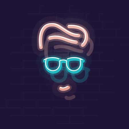 Neon man face. Night illuminated icon. Isolated illustration on brick wall background