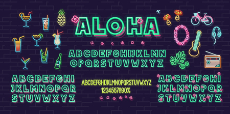 Neon aloha summer icons and font set isolated on brick wall background.  Headline and small condensed uppercase letters