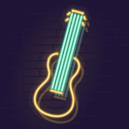 Neon ukulele. Night illuminated icon. Isolated illustration on brick wall background