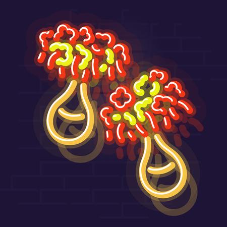 Neon uliuli. Night illuminated icon. Isolated illustration on brick wall background