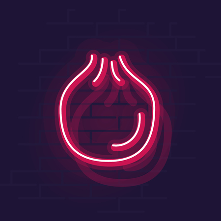 Neon pomegranate. Night illuminated wall street sign. Isolated geometric style illustration on brick wall background