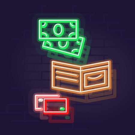 Neon wallet. Night illuminated wall street sign. Isolated geometric style illustration on brick wall background 向量圖像