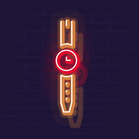 Neon watches. Night illuminated wall street sign. Isolated geometric style illustration on brick wall background 向量圖像