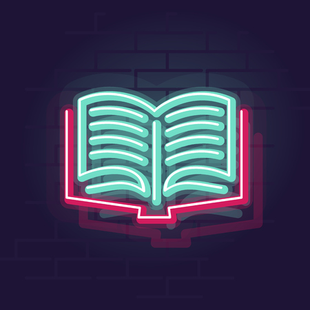 Neon book. Night illuminated wall street sign. Isolated geometric style illustration on brick wall background Vettoriali