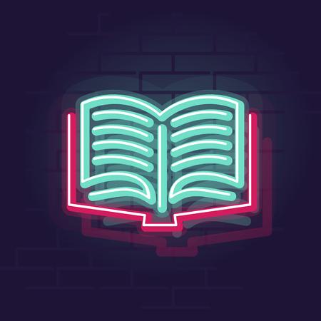 Neon book. Night illuminated wall street sign. Isolated geometric style illustration on brick wall background Illustration